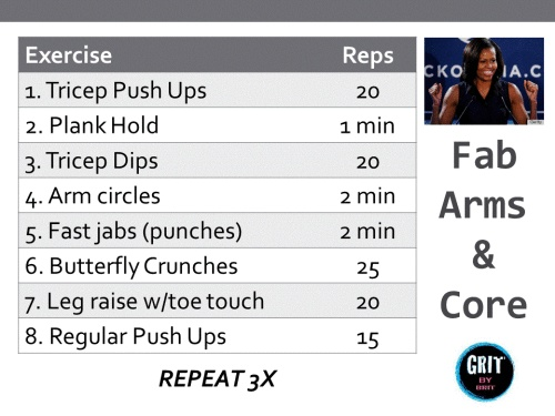 30 Minute Michelle Obama Arm workout - with no weights!
