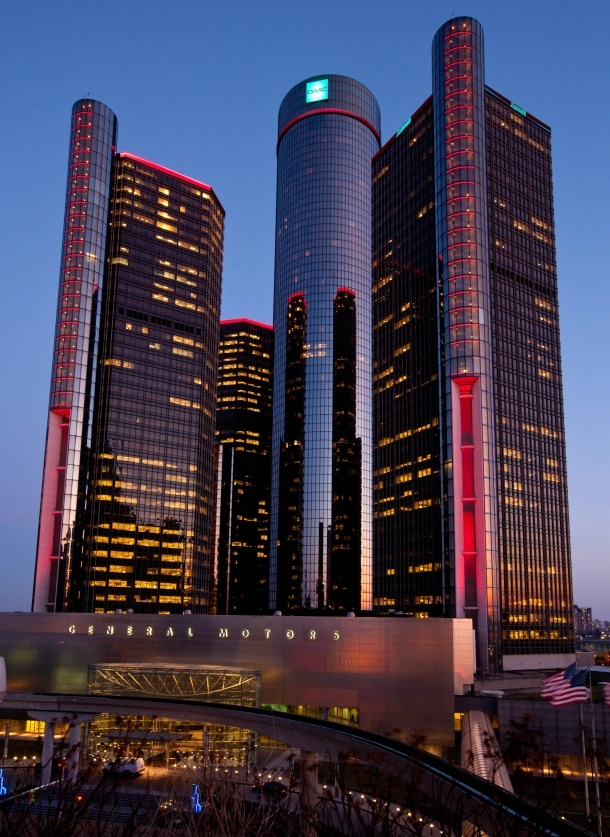 The Renaissance Center (also known as the GM Renaissance Center and nicknamed the RenCen) is a group of seven interconnected skyscrapers in Detroit, Michigan, United States. Located on the International Riverfront, the Renaissance Center complex is owned by General Motors as its world headquarters. Completed in 1981. Architect John Portman. Renovated 2004.