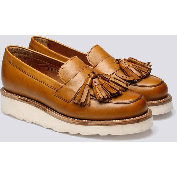 Womens Grenson Clara Vibram Tassel Loafer - Tan (20.775 RUB) ❤ liked on Polyvore featuring shoes, loafers, tan, loafer shoes, grenson shoes, tassel loafers, loafers & moccasins and summer shoes