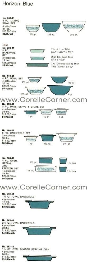 Horizon Blue Pyrex Ware, image from 1971 catalogue.