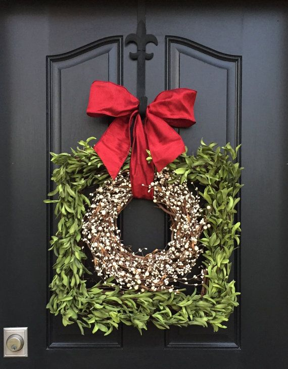 Boxwood Square Wreath, $110; etsy.com   - ELLEDecor.com