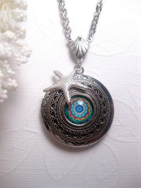 Silber Seestern Kaleidoskop Medaillon – Türkis – Muster Bild Halskette – Strand – Foto