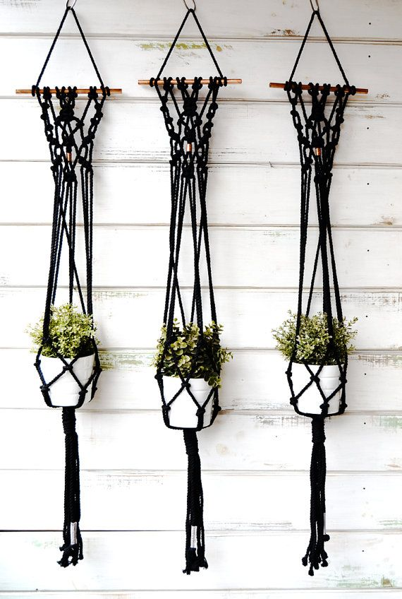 Cotton rope plant hanger made with copper detail and rod, perfect to hang from the wall as a wall hanging and also from the ceiling