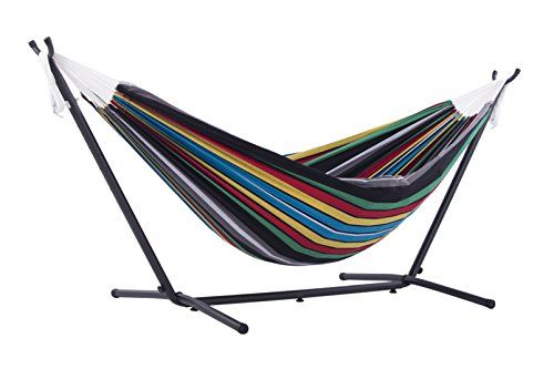 Vivere Double Hammock with Space-Saving Steel Stand, Rio Night. For product & price info go to:  https://all4hiking.com/products/vivere-double-hammock-with-space-saving-steel-stand-rio-night/
