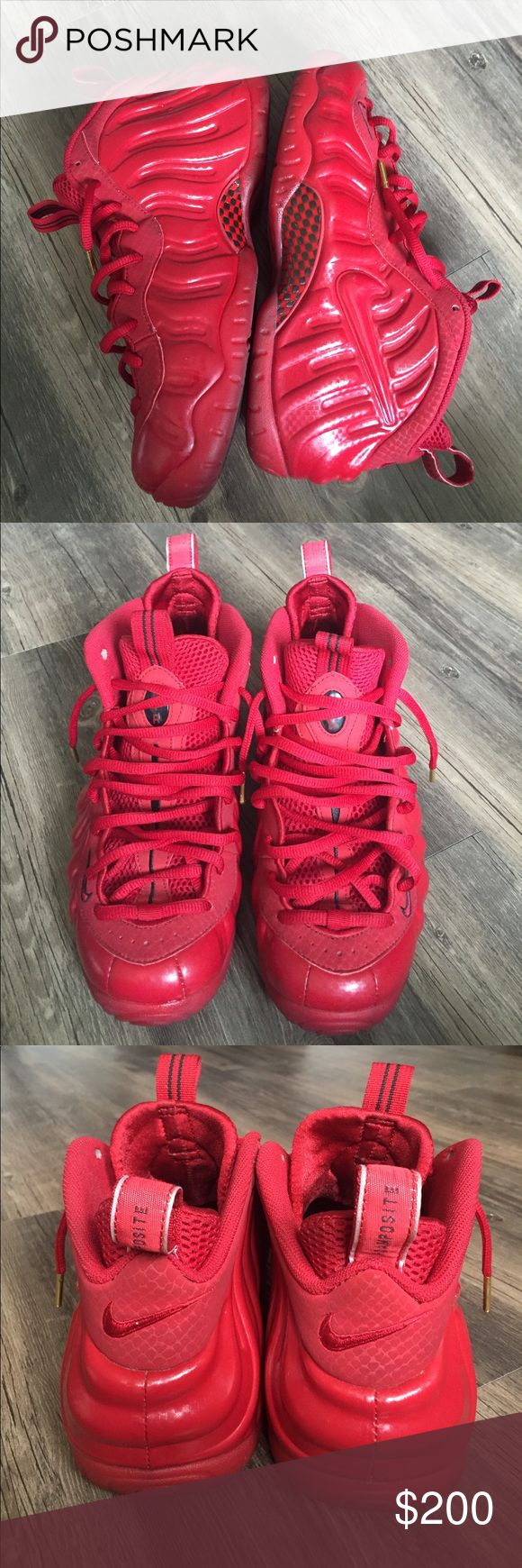 Nike Foamposite Excellent used condition. No major flaws. Worn minimally. Size 10. All red. Nike Shoes Sneakers