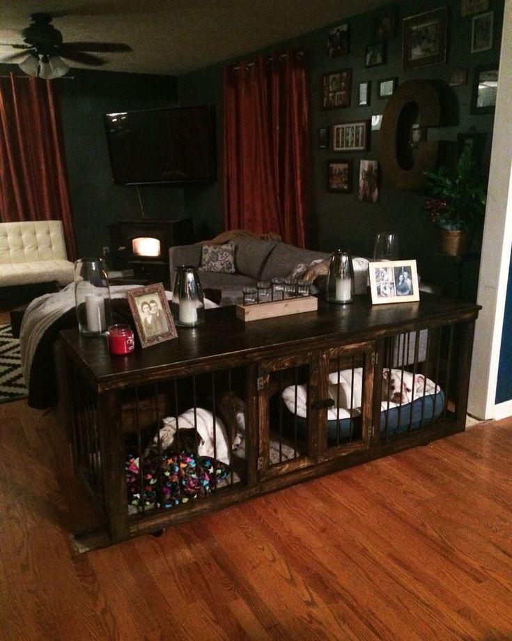 30 best dog kennels custom indoor images on pinterest for Sofa table dog crate