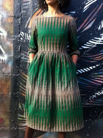 Nkrumah's pencil Wax print Emery Dress—wow! great use of wax print fabric