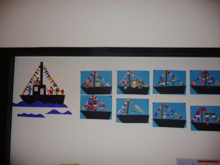 MAP juf Ineke : de vloot van de boten van Sinterklaas. Als groepswerk maken de kinderen de grote boot, individueel de kleine bootjes erachteraan.....die worden aan elkaar verbonden door een lang touw.....
