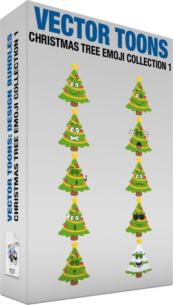 Christmas Tree Emoji Collection 1 #cartoon #clipart #vector #vectortoons #stockimage #stockart #art