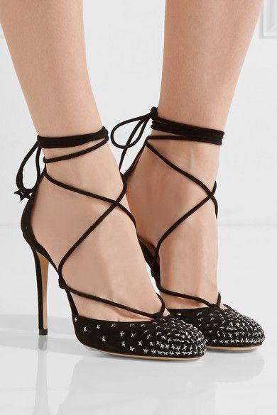 Jimmy Choo | Kamron lace-up embellished suede pumps | NET-A-PORTER.COM