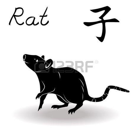 Segno dello zodiaco cinese Rat fisso Elemento Acqua simbolo del nuovo anno del calendario cinese dis Archivio Fotografico