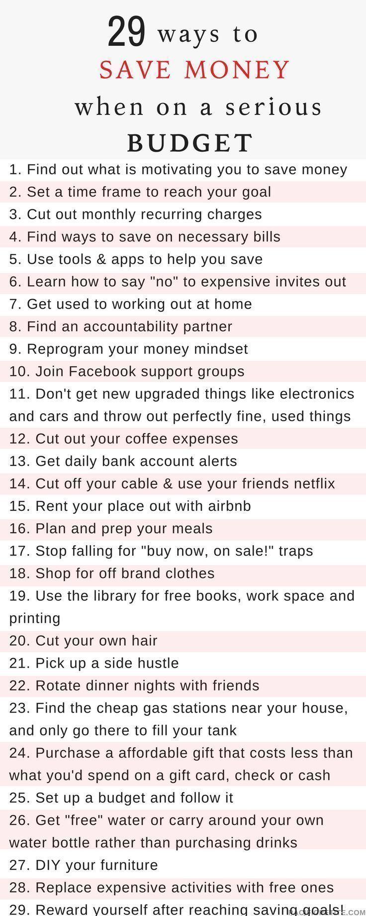 29 Möglichkeiten, um Geld zu sparen, wenn Sie ein ernstes Budget haben