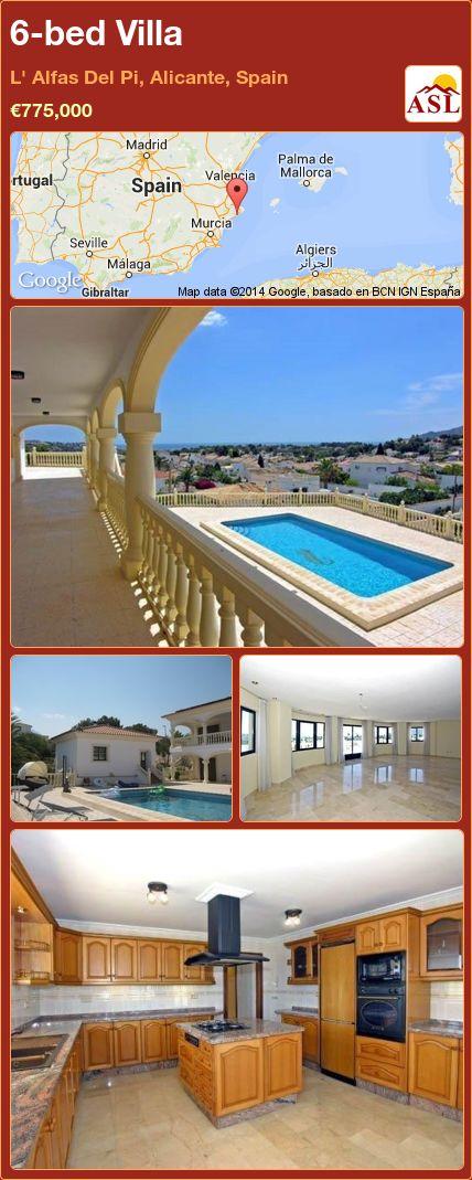 6-bed Villa in L' Alfas Del Pi, Alicante, Spain ►€775,000 #PropertyForSaleInSpain