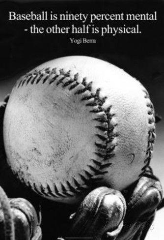 Baseball Season Quotes | Yogi Berra Funny Baseball Quote Poster Masterprint