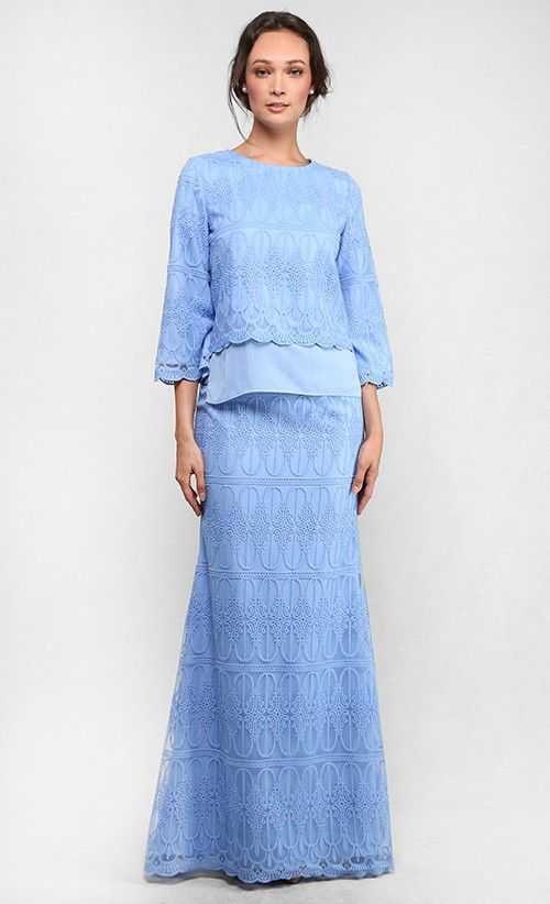 The Full Lace Kedah Kurung in Sky Blue - Raya 2016 | FashionValet