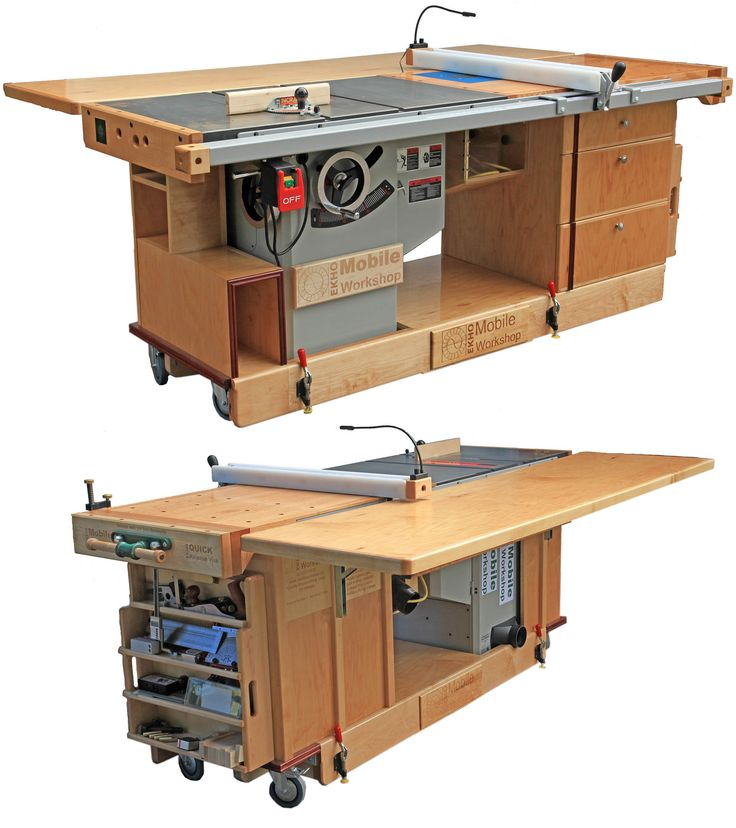 wood workbench with table saw. mobile workshop - table saw, outfeed table, router and storage all wood workbench with saw