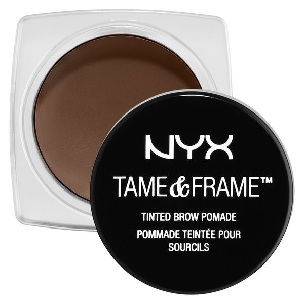"""""""NYX Tame & Frame Brow Pomade (waterproof) fills in gaps like a pencil but has the more natural finish of a powder."""