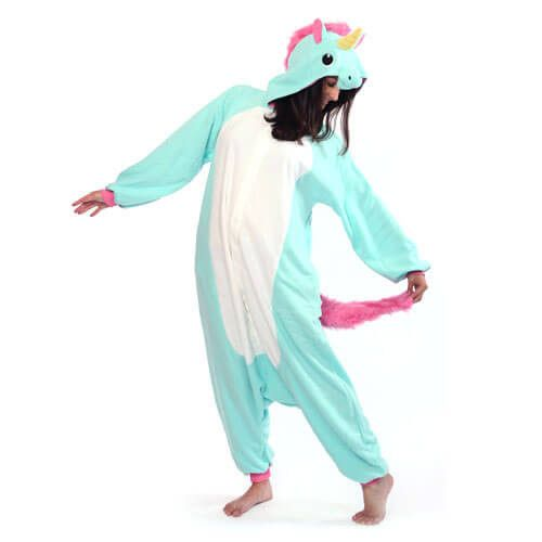 The blue unicorn pony style adult onesie is unique, pretty and cool! Made of soft flannel which is a pleasure to touch and wear, it will keep you comfortable and cuddly with the right touch of cute in