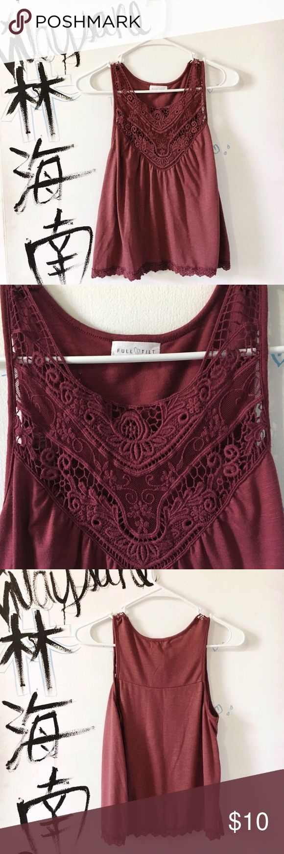 Full tilt plum crochet cami tank top NWOT Full Tilt Tops Tank Tops