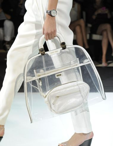 See through plastic tote by Emporio Armani. I want This!!