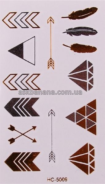 Флеш Flash татуировки временные тату Перо Алмаз треугольники стрелы 012