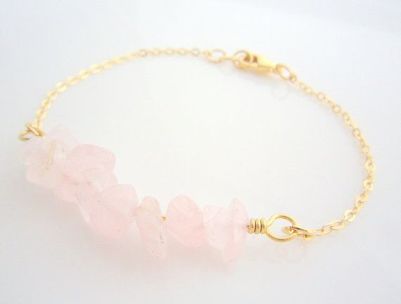 Rose Quartz Bracelet - Pink Gemstones Chips Wire Wrapped on Gold Filled - Delicate and Simple Jewelry