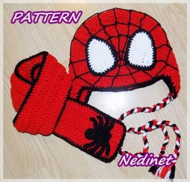 Spider-Man Superhero crochet hat+scarf set PATTERN