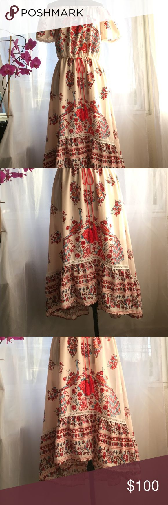 Gorgeous off the shoulder, high low festive dress Fun and flirty dress with flower and bird pattern and rope tie at waist. Off the shoulder. NWOT Dresses High Low
