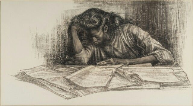 "Charles White, ""Awaken From The Unknowing"" (1961), charcoal, 30 x 55 inches. Blanton Museum of Art, The University of Texas at Austin. Susan G. and Edmund W. Gordon Family Collection (courtesy Blanton Museum of Art) (click to enlarge)"