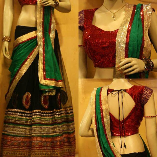 Black and Green Half Saree by Sony Reddy ~ Celebrity Sarees, Designer Sarees, Bridal Sarees, Latest Blouse Designs 2014