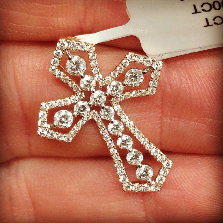 Vintage style diamond rose gold cross pendant