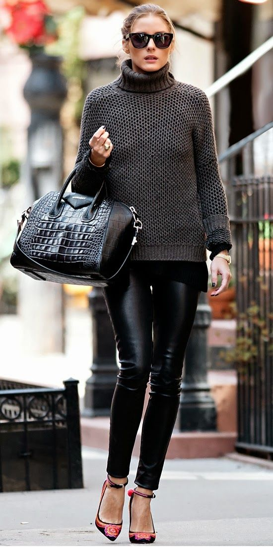 fashion icon...op leather pants turtleneck classic winter cool ensemb