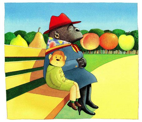 Anthony Browne: Illustration for Voices in the park by Anthony Browne