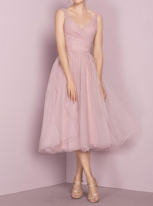 Deep Blush Tulle Prom Dress,Tea Length V-neckline Evening Dress,Tea Length Tulle Bridesmaid Dress