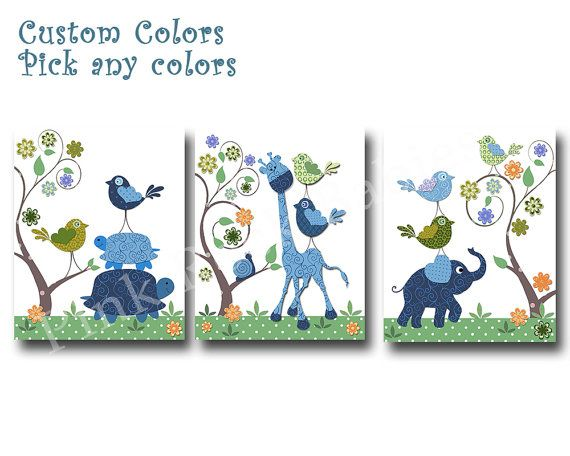 Blue elephant decor blue giraffe nursery art by PinkRockBabies