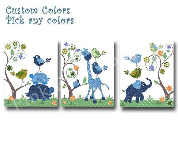 Blue elephant decor blue giraffe nursery art by PinkRockBabies