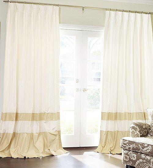 double bordered custom silk drapes