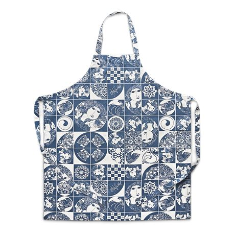 This blue apron is made of 100% cotton and printed with a number of specially selected, classic Bjørn Wiinblad motifs. #bjørnwiinblad