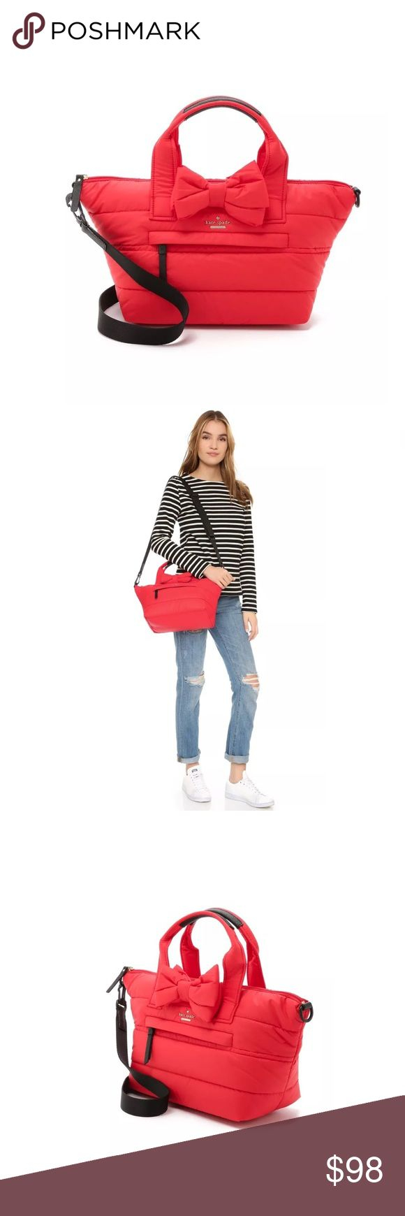 """KATE SPADE Colby Court Quilted Bow Crossbody Bag Small tote 100% polyester Double flat top handles Bow accent at front Exterior zip pocket at front Fabric interior lining with two flat pockets & one zipper pocket Zip top closure Measurements: Body length 11"""", height 9"""", width 6"""", drop handle 4"""", strap drop 13"""" Material: Shell and lining: 100% polyester; Trim: polyurethane This item is still wrapped in tissue paper&plastic from the company. I would prefer not to unwrap it & expose it to…"""