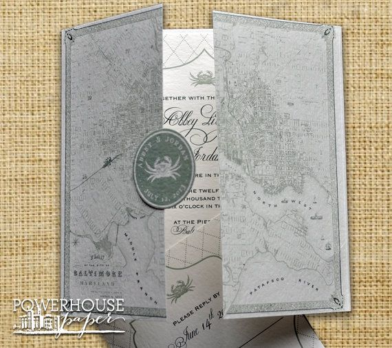 Baltimore Vintage Map Wedding Invitation or Save the Date