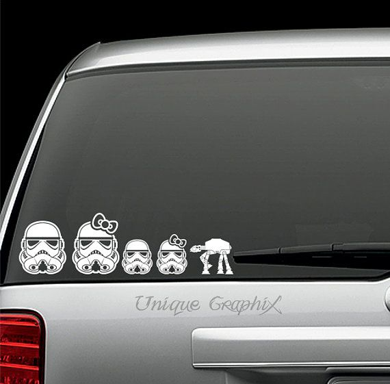 Star Wars Storm Trooper Family Vinyl Decals Window Stickers - Car window decals near mestar trek family car decals thinkgeek