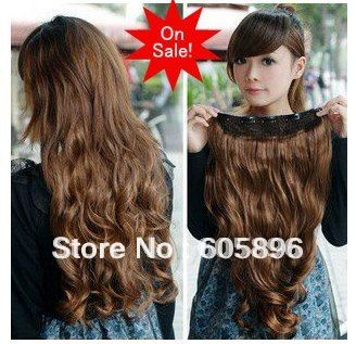"""Free Shipping-Big sale Fashion  5 clip-in hair extension 20""""  long curl hairpiece 12 colors-can use heat-high quality US $6.00"""