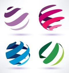 set of 3d abstract globe icons vector