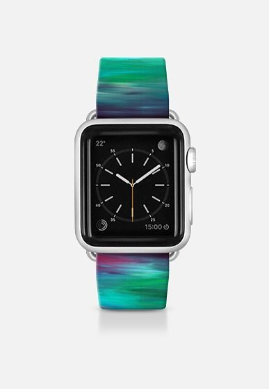 """Get $10 off using code: 5K7VFT """"Color Intoxication 3"""" By Artist Julia Di Sano, Ebi Emporium on #Casetify Turquoise Teal Blue Green Purple Girly Chic Abstract Ocean Sea Coastal Modern Cool Abstract Fine Art Stripes Pattern Colorful Fun Design Apple Watch Band (38mm or 42mm) by Ebi Emporium 