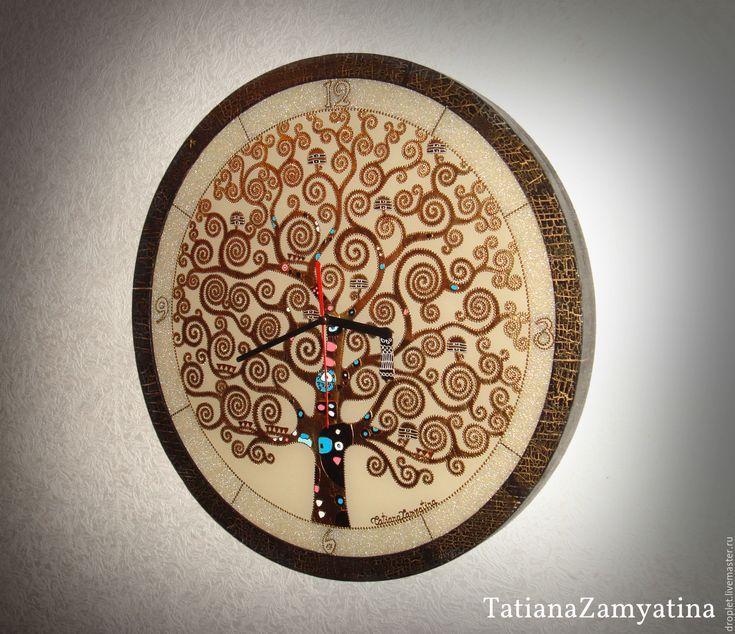"""Купить Часы настенные """"Древо жизни"""" круглые - золотой, часы настенные из стекла, часы, стекло"""