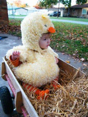 Baby chick Halloween costume.