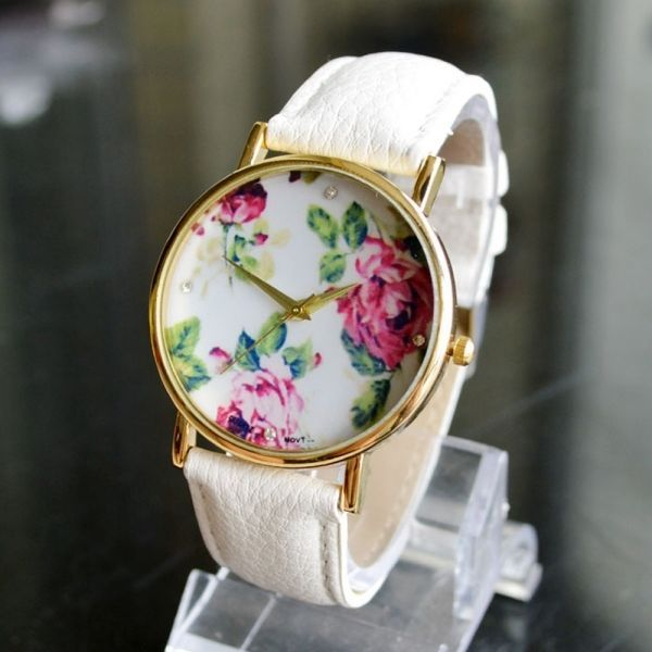 Rose Floral Round White Dial Alloy Watch Ladies Wrist Watch Artificial Leather B #Casual