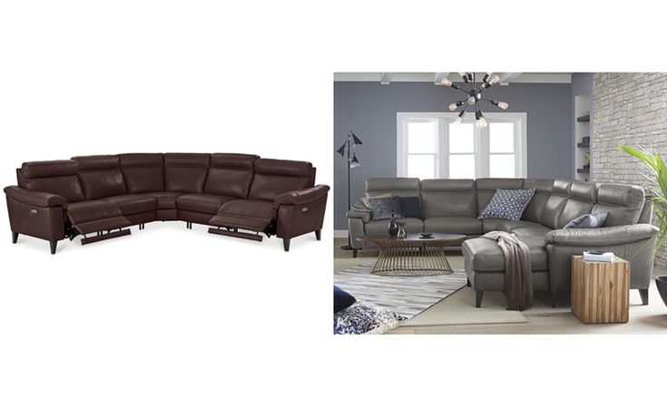 Pirello 5 Pc L Shaped Leather Sectional Sofa With 2