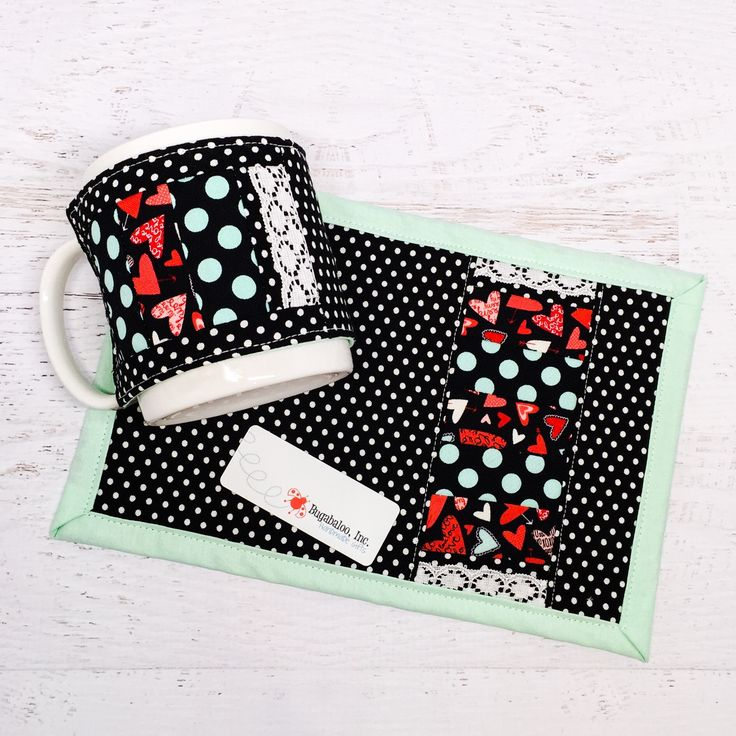 This Valentine's Day themed black, white, and mint polka dot mug rug and mug cozy comes as a set and makes a great gift! Perfect for anyone who loves a break in their day for drinking a delicious warm