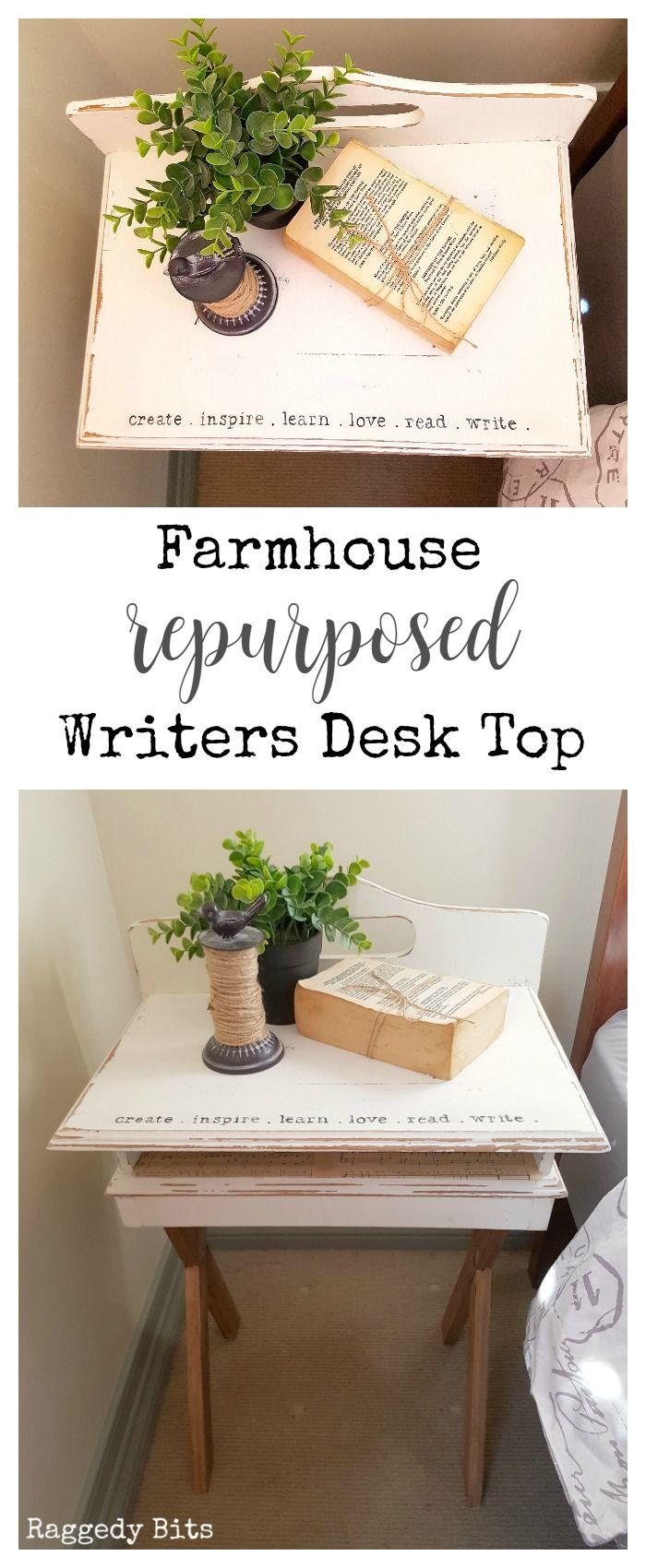Farmhouse Repurposed Broken Writers Desk Top